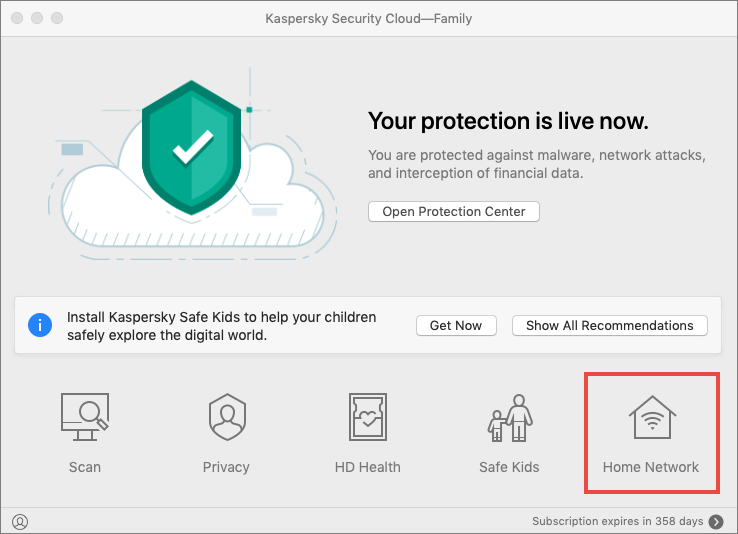 List of devices connected to your wireless network in Kaspersky Security Cloud 20 for Mac