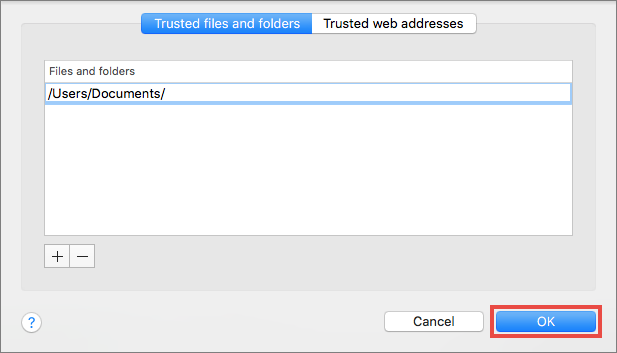 Adding a folder to trusted in Kaspersky Security Cloud 19 for Mac