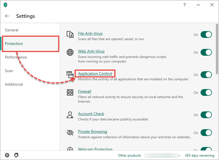 Opening the Application Control window in Kaspersky Security Cloud 20