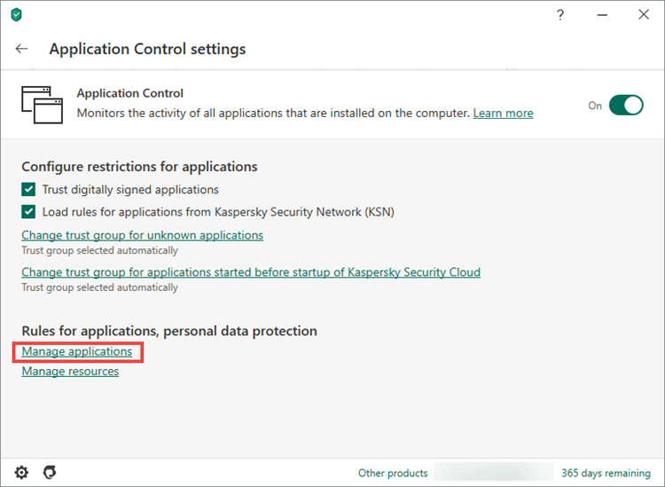 Opening the Manage applications window in Kaspersky Security Cloud 20