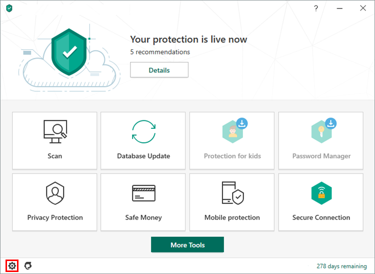 Opening the Settings window of Kaspersky Security Cloud 20