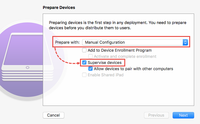 Device preparation in Apple Configurator 2
