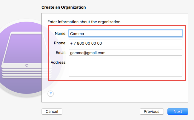 Entry of organization information in Apple Configurator 2