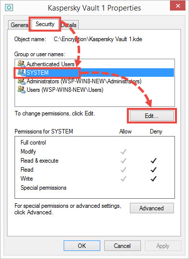Changing permissions for the System group