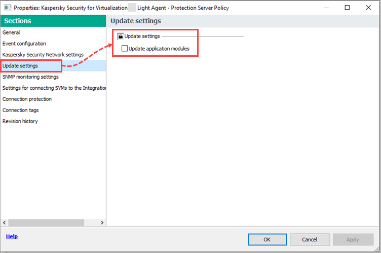 Setting in Update settings for the Protection Server policy of Kaspersky Security for Virtualization 5.0 Light Agent