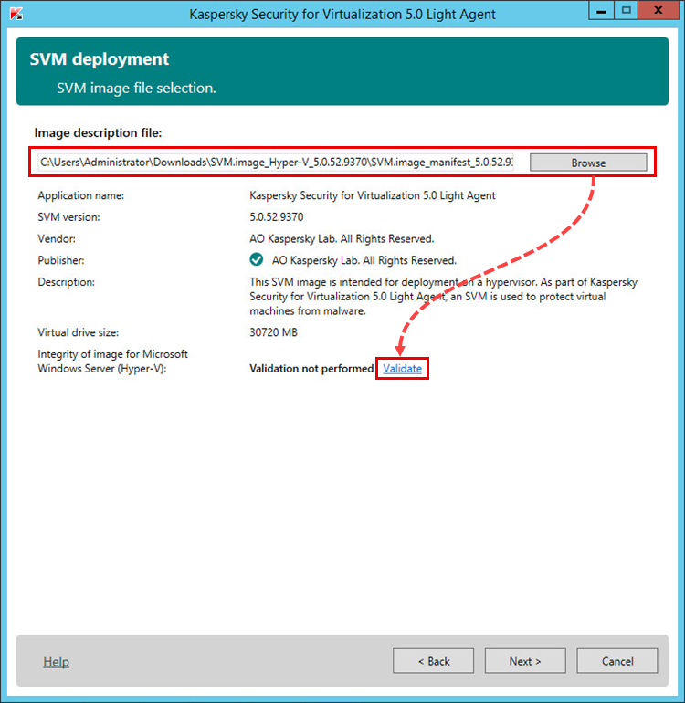 SVM image file selection in Kaspersky Security for Virtualization 5.0 Light Agent