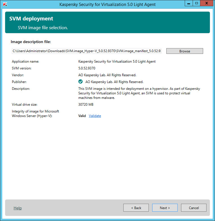 Checking the validity of an SVM image in Kaspersky Security for Virtualization 5.0 Light Agent