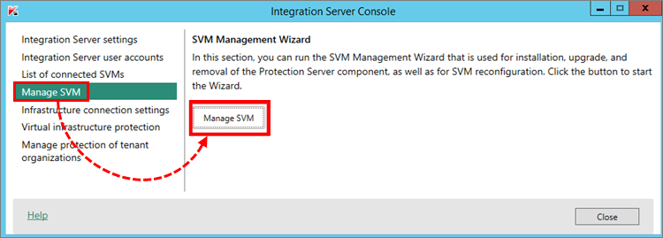 Launching SVM Management Wizard in the Integration Server administration console in Kaspersky Security for Virtualization 5.1 Light Agent