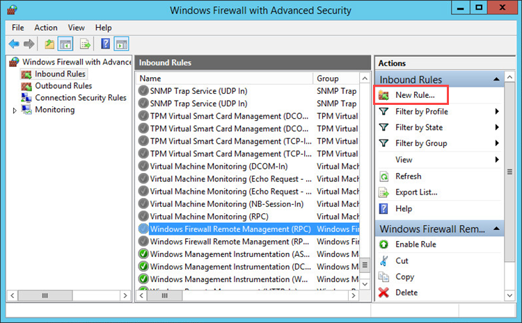 Creating a rule in Windows Firewall
