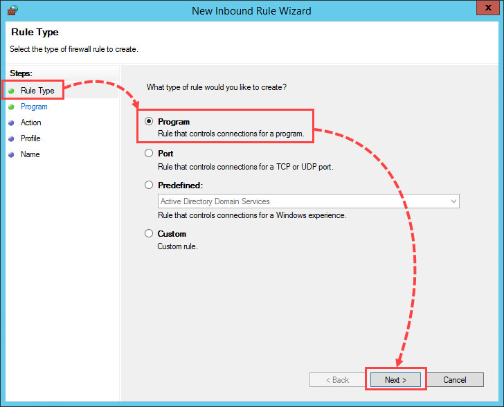 Selecting a Windows Firewall rule type