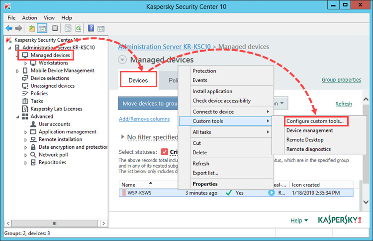 Running the remote diagnostics tool in Kaspersky Security Center 10