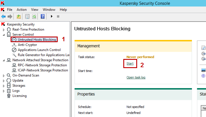 Image: how to run the Untrusted Hosts Blocking task