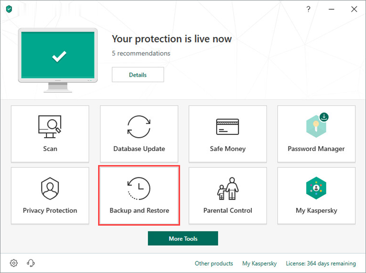 Opening the Backup and Restore window in Kaspersky Total Security 19