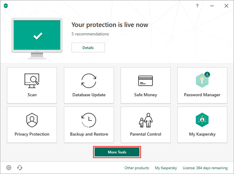 Opening the Tools window in Kaspersky Total Security 19