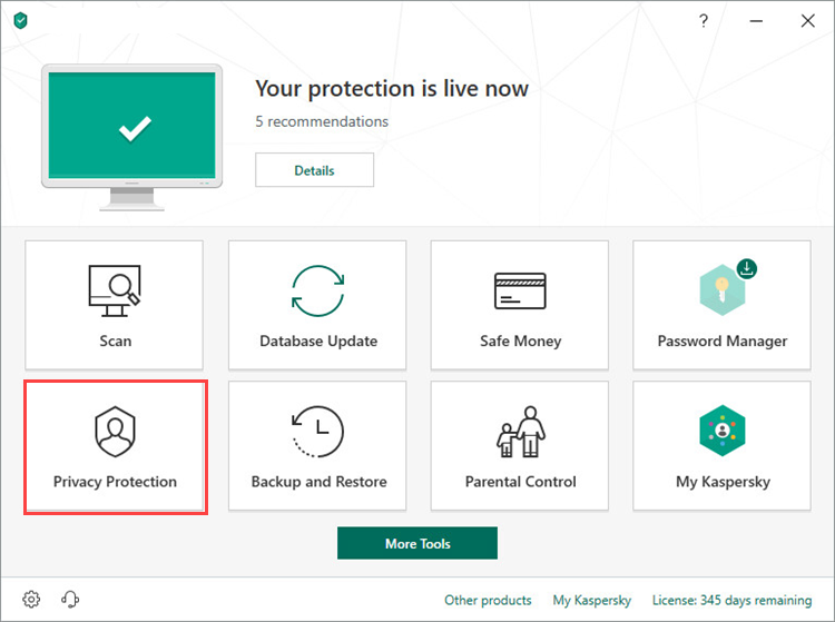 Opening the Privacy Protection section in Kaspersky Total Security 19