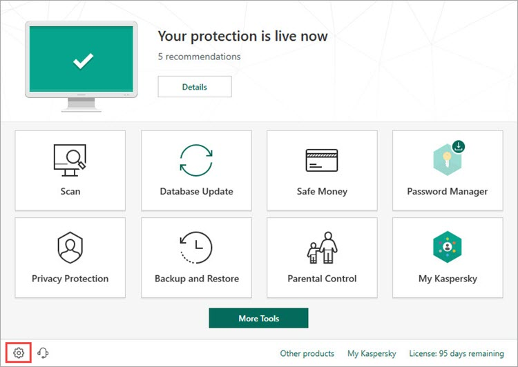 Opening the Settings window of Kaspersky Total Security 19