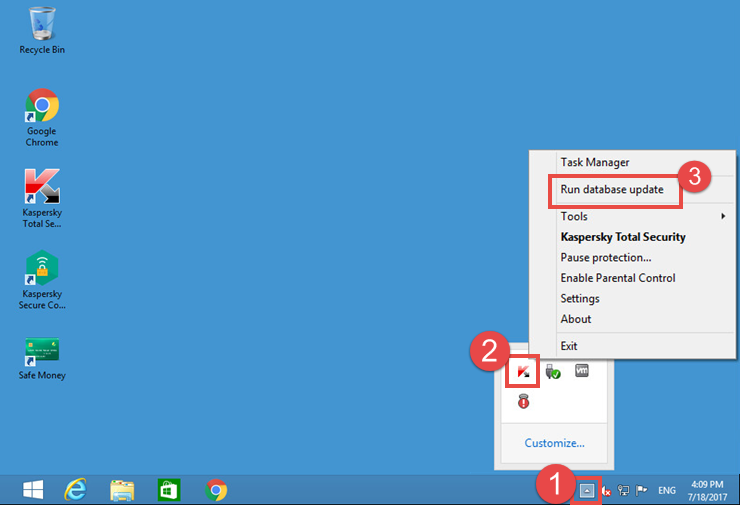 Image: the Kaspersky Total Security right-click menu in the notification area of Desktop