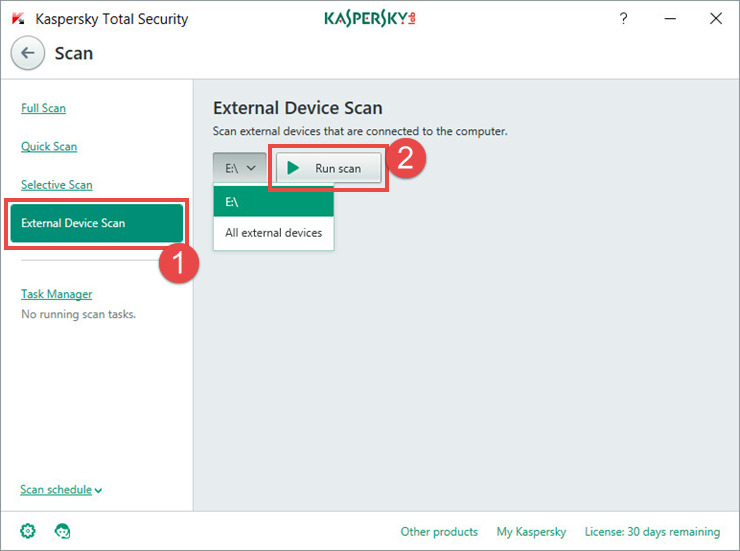 Image: launching an external device scan in Kaspersky Total Security 2018.