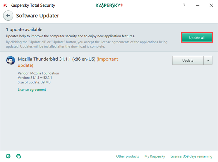 Image: list of detected application updates in Kaspersky Total Security