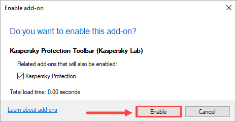 Image: enable plug-in window in Kaspersky Protection Toolbar