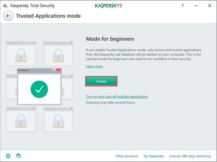 Image: the Trusted Applications mode window in Kaspersky Total Security