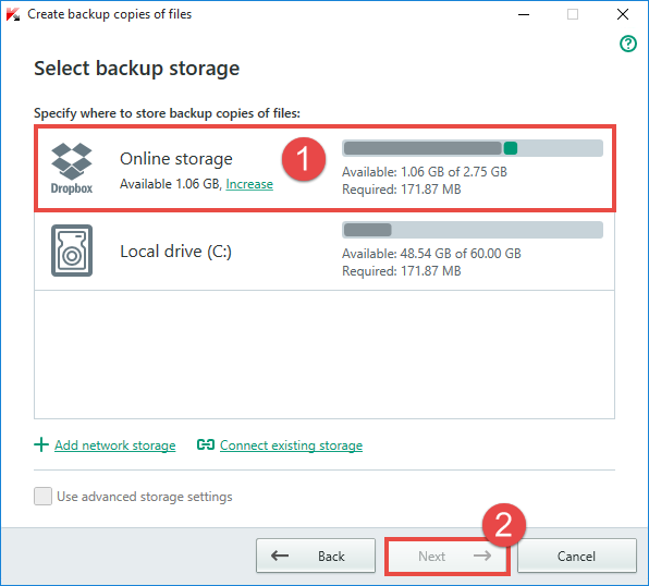 Image: select activated online storage