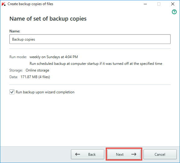 Image: Name of backup copies window in Kaspersky Total Security 2018