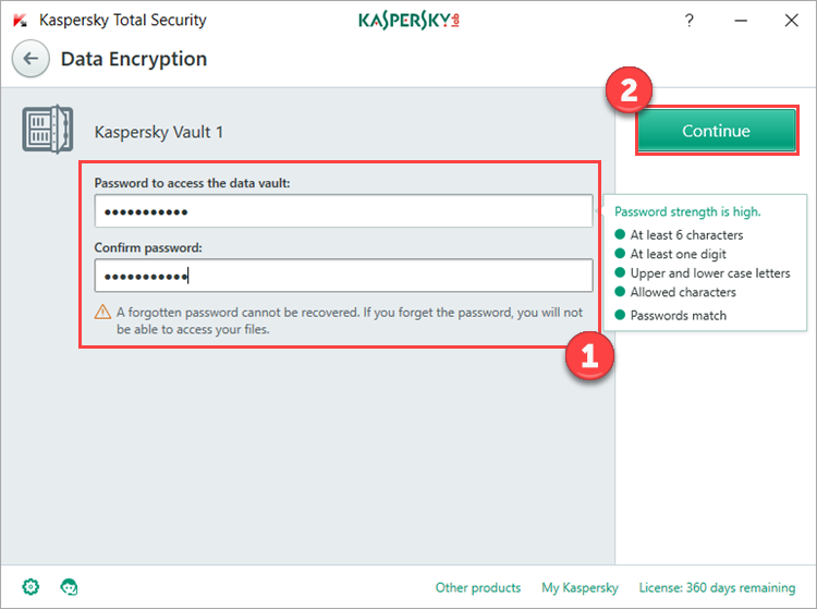 Image: setting a vault password in Kaspersky Total Security