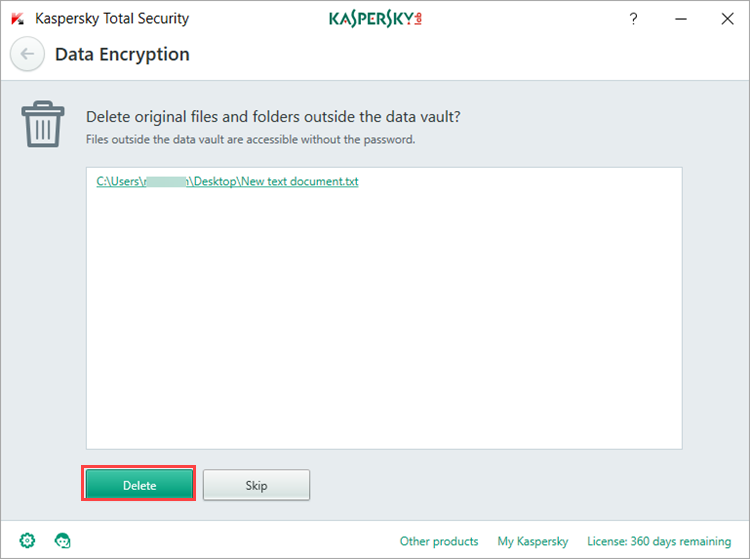 Image: deleting the files from their initial location in Kaspersky Total Security