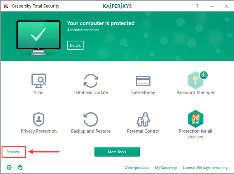 Image: Kaspersky Total Security window