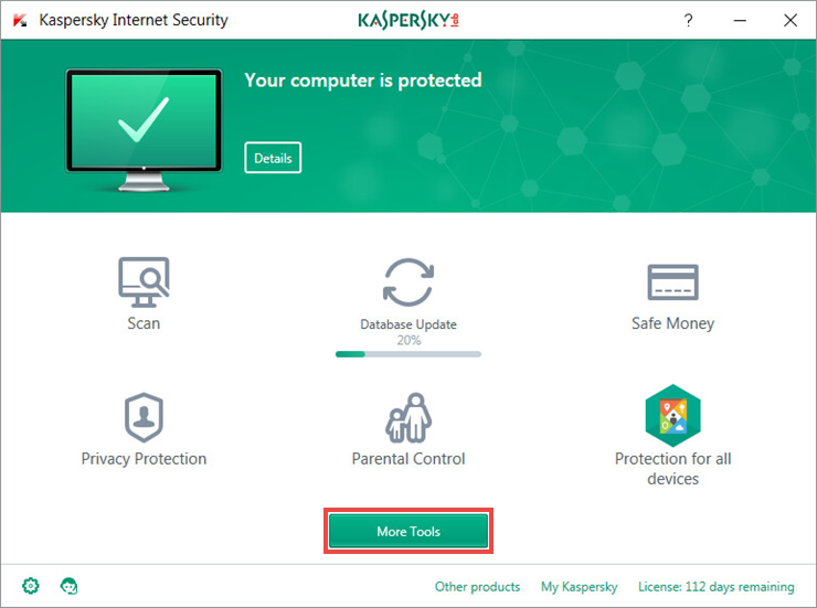 Opening the Tools window of Kaspersky Internet Security 2018