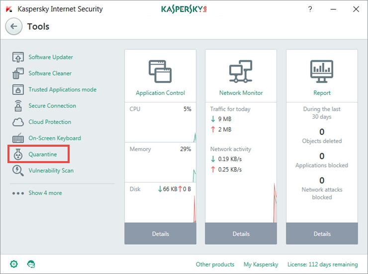 Opening the Quarantine window of Kaspersky Internet Security 2018