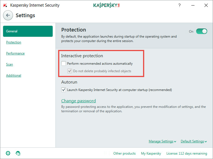 How to disable the automatic protection mode in Kaspersky Internet Security 2018