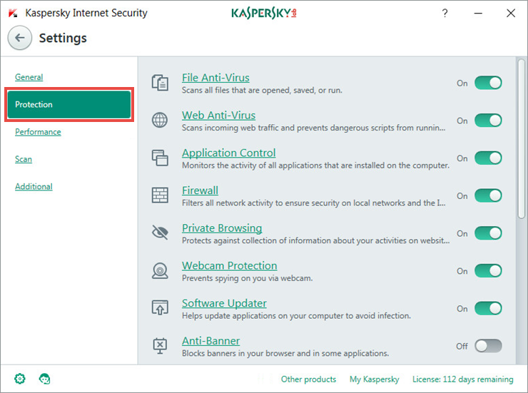 Adjusting the settings of protection components in Kaspersky Internet Security 2018