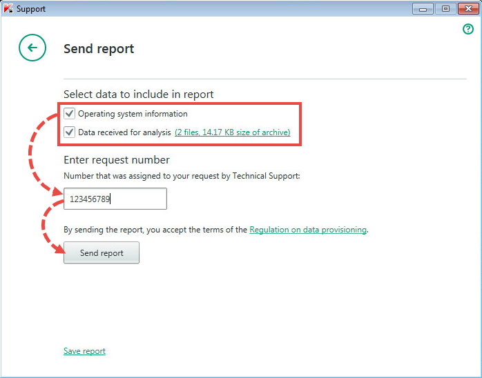 Sending the report to Kaspersky Total Security 2018
