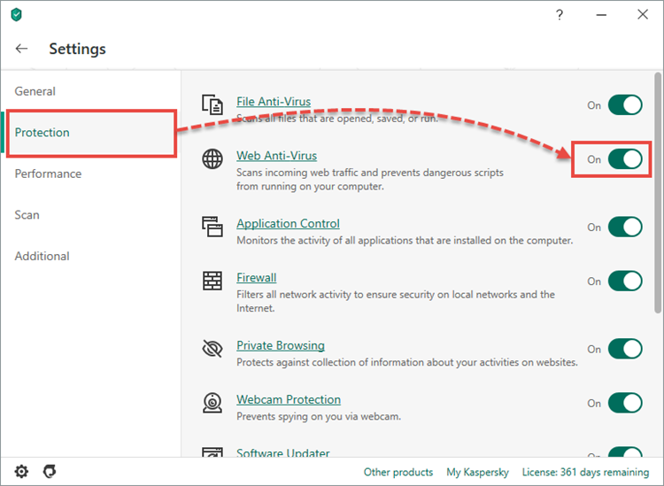Enabling System Watcher in Kaspersky Internet Security 20