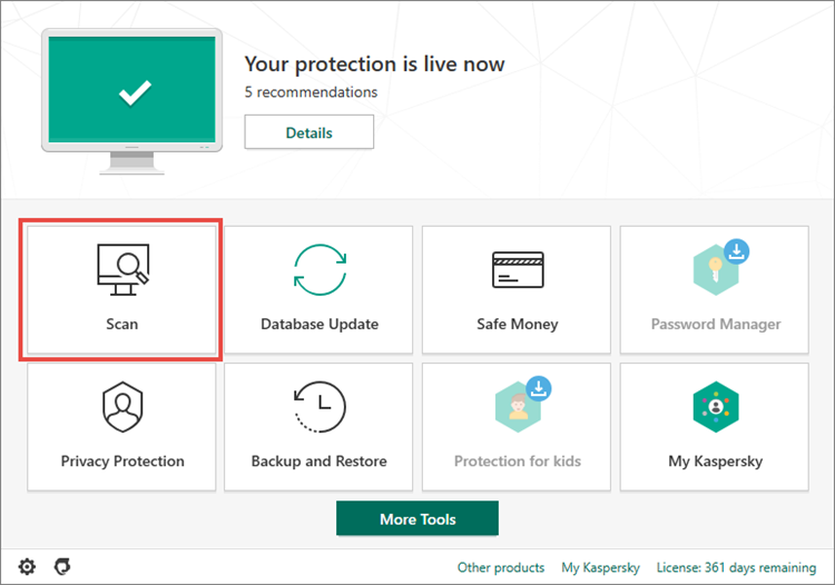 Opening the Scan section in Kaspersky Total Security 20