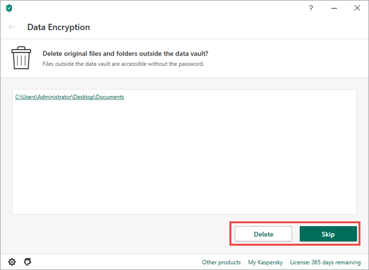 Action to take on original files when creating a vault in Kaspersky Total Security 20