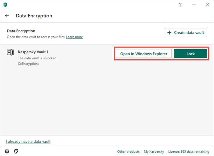 Opening or locking a vault in Kaspersky Security Cloud 20