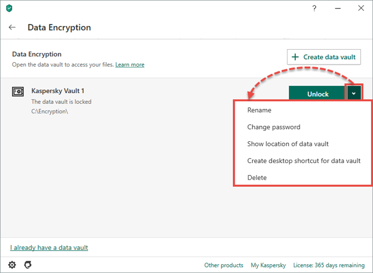 Managing a data vault in Kaspersky Security Cloud 20