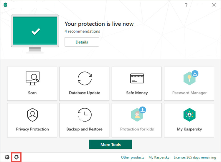 Opening the Support window in Kaspersky Total Security 20