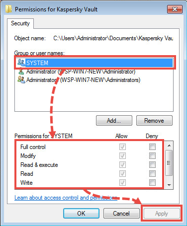 Kaspersky vault properties window