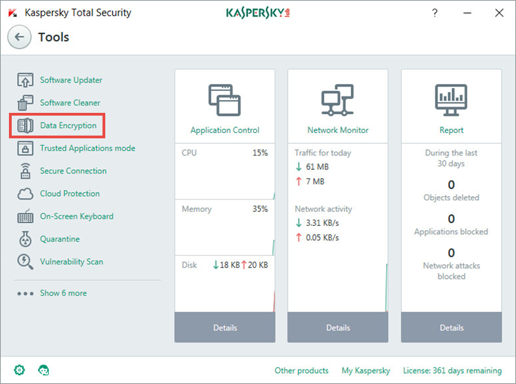 the Tools window of Kaspersky Total Security 2018