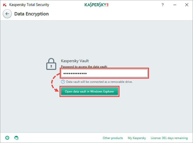 the Data Encryption window in Kaspersky Total Security 2018