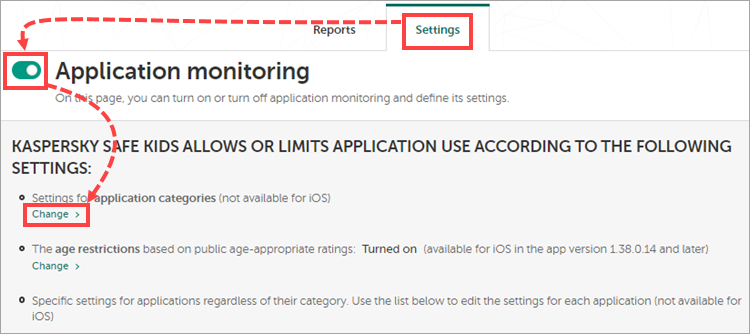 Application monitoring settings in My Kaspersky.