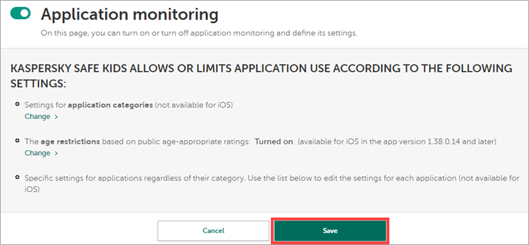 The Application monitoring view with the Save button highlighted.