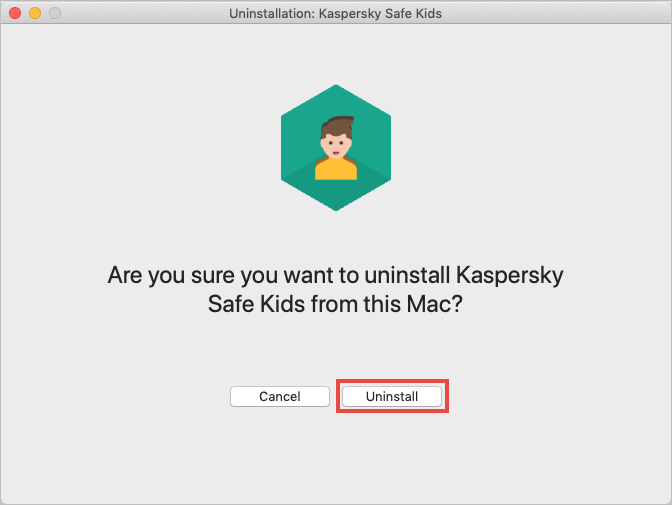 Confirming uninstallation of Kaspersky Safe Kids for Mac